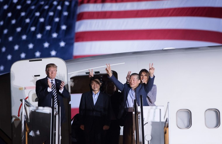 Image: Trump welcomes back Americans released by North Korea