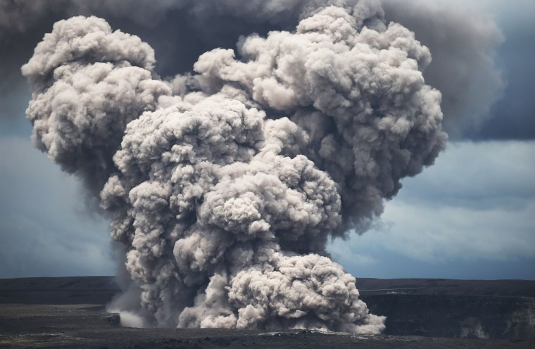 Image: An ash plume rises from the Halemaumau crater