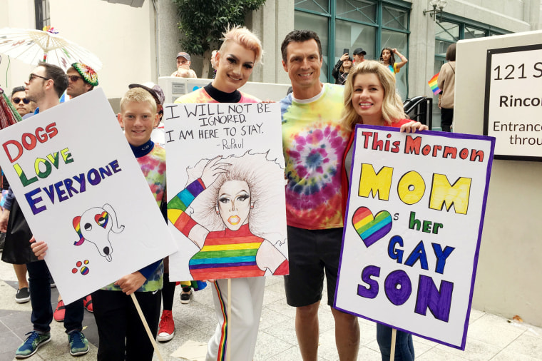 Image: Wendy Vonsosen marches with her family in the 2017 San Francisco Pride parade.