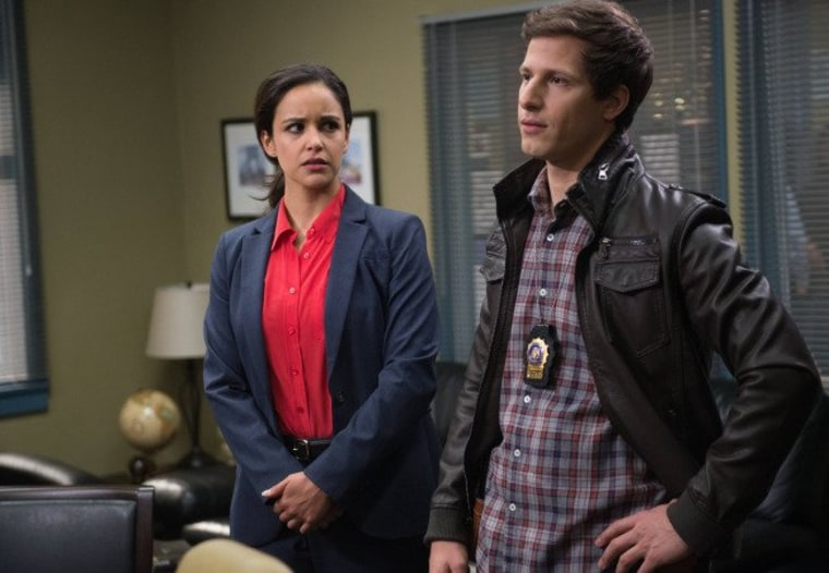 "Andy Samberg and Melissa Fumero as detectives Jake Peralta and Amy Santiago on ""Brooklyn Nine Nine."""