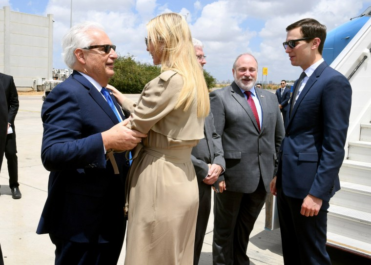 Image: White House senior adviser Ivanka Trump greets U.S. Ambassador to Israel David Friedman as she stands near White House Senior Adviser Jared Kushner, upon their arrival at the Ben Gurion International Airport, near Lod, Israel May 13, 2018.
