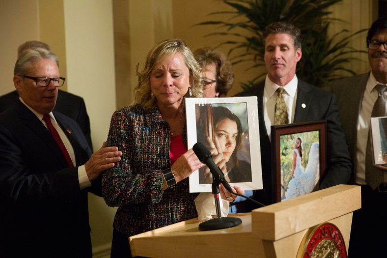 Image: Debbie Ziegler, mother of Brittany Maynard, speaks to the media