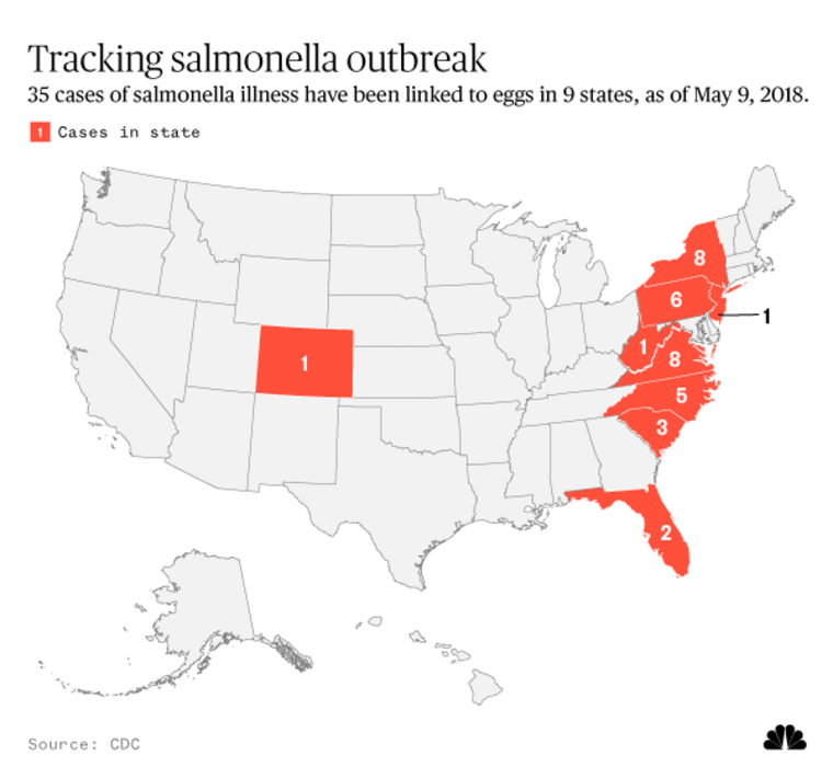 Map: Tracking salmonella outbreak
