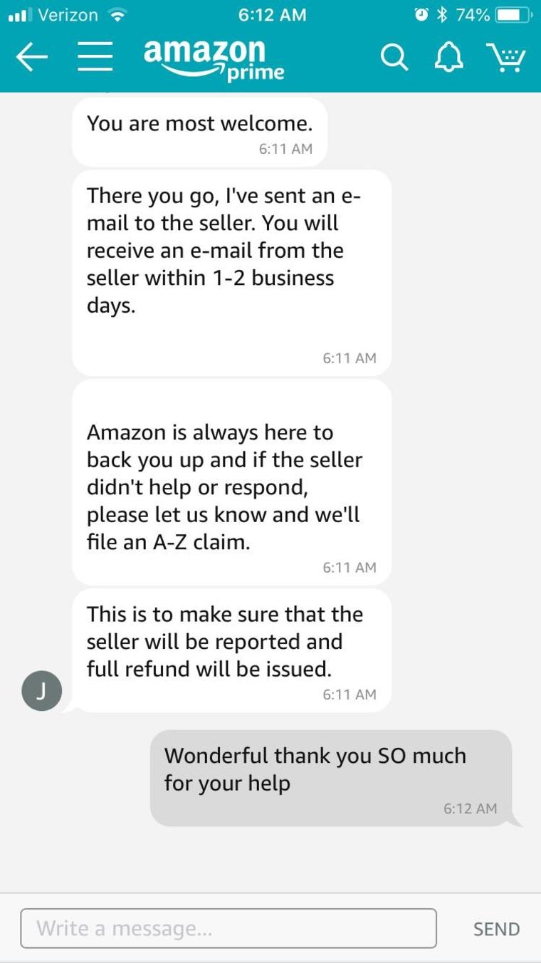 screenshot of customer and Amazon customer service rep chatting