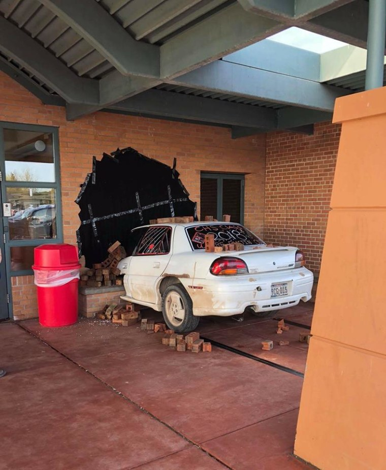Cumberland High School students stage car crash senior prank