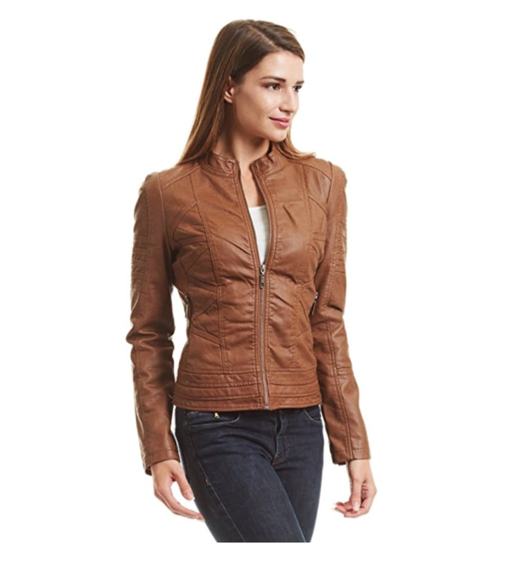 Best leather jacket: tan fitted leather jacket