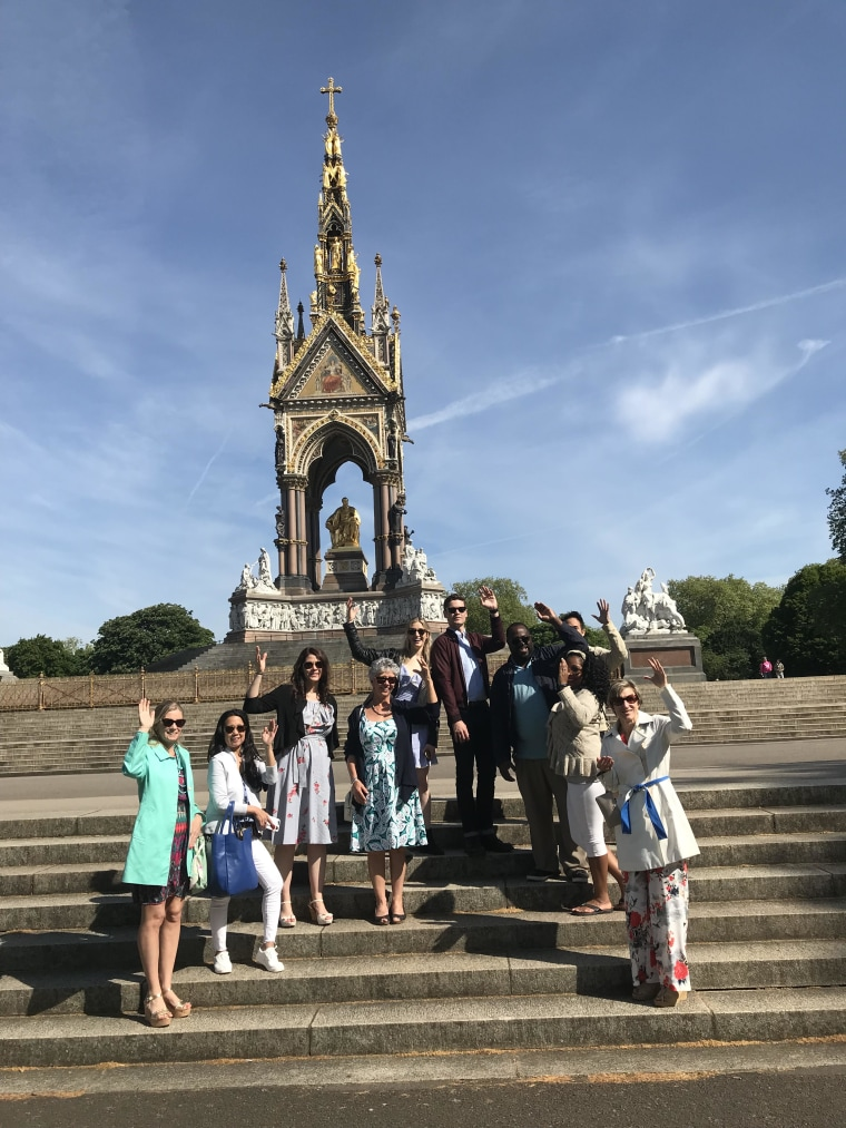 It wouldn't be a trip to the royal wedding if you didn't practice waving in front of the Albert Memorial.