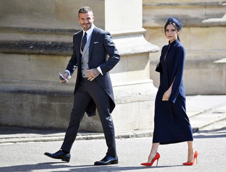 David and Victoria Beckham at the royal wedding