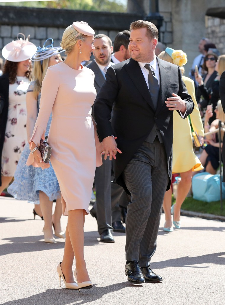 James Corden and Julia Carey at the royal wedding