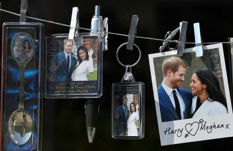 Image: Souvenirs themed on the forthcoming royal wedding between Prince Harry and Meghan Markle are seen for sale in Windsor