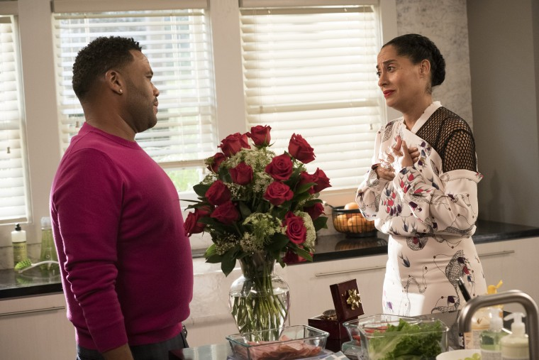 "Image: Anthony Anderson and Tracee Ellis Ross in season finale of ABC's ""black-ish."""