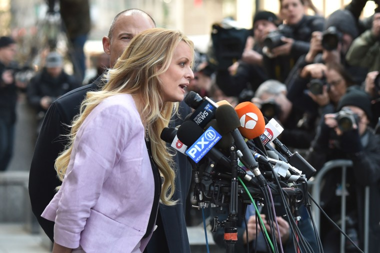 Image: Stormy Daniels speaks to members of the media outside U.S. Federal Court