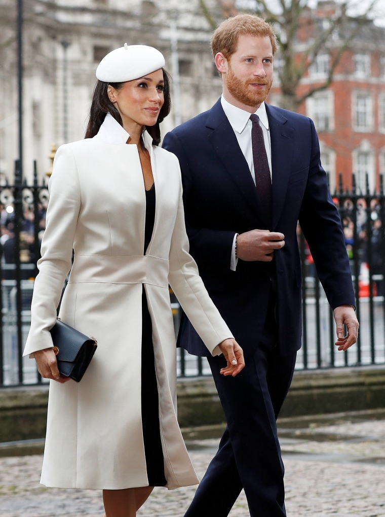 Image: Britain's Prince Harry and his fiancee Meghan Markle arrive at the Commonwealth Service at Westminster Abbey in London