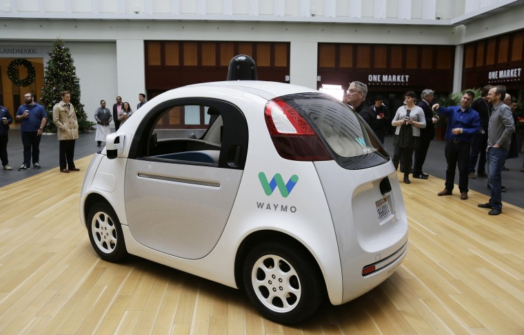 The Waymo driverless car is displayed during a Google event in San Francisco in 2016.