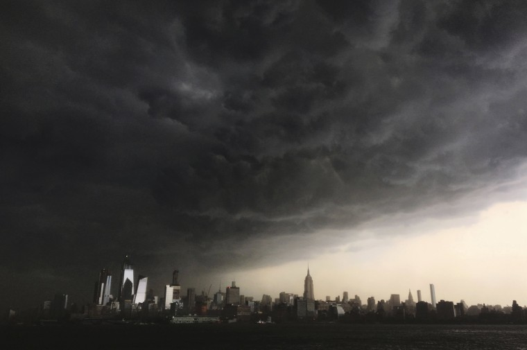 Image: Storm clouds gather over New York City
