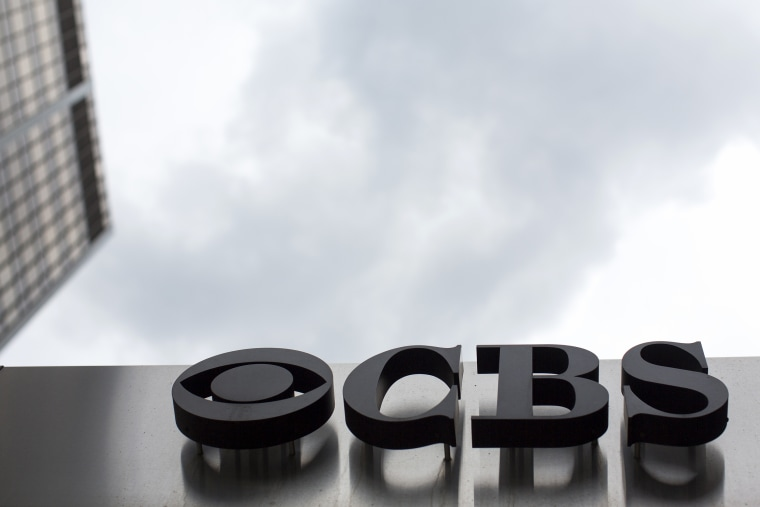 Image: The CBS logo at their broadcast center in New York on May 10, 2017.