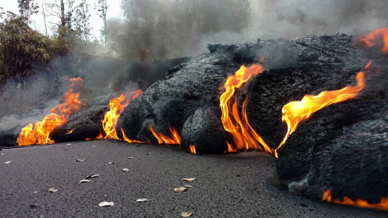 Image: Lava flow on a road in Pahoa, Hawaii