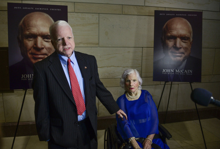 "Image: Joe McCain, brother of Senator John McCain and Roberta McCain, mother of Senator John McCain, arrive for the DC screening of ""John McCain: For Whom The Bell Tolls"" at the U.S. Capitol Visitor Center on May 17, 2018 in Washington, DC."