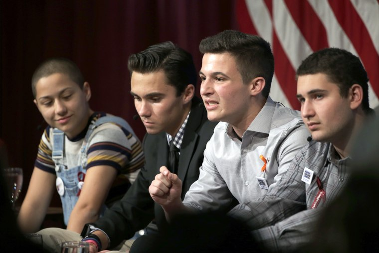 Image: Marjory Stoneman Douglas High School students, and mass shooting survivors, from left, Emma Gonzalez, David Hogg, Cameron Kasky and Alex Wind