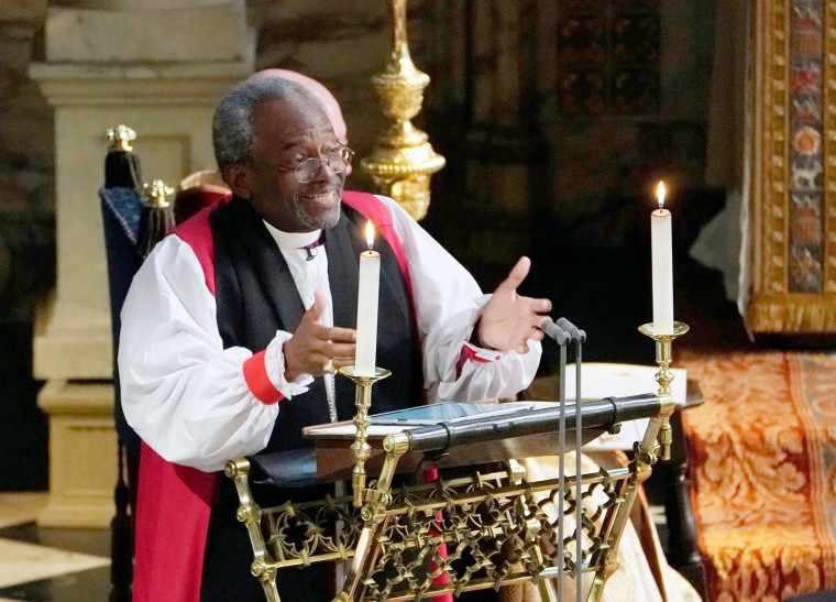 Image: Bishop Michael Bruce Curry gives a reading during the wedding ceremony of Britain's Prince Harry, Duke of Sussex and U.S. actress Meghan Markle in St. George's Chapel, Windsor Castle, in Windsor, on May 19, 2018.