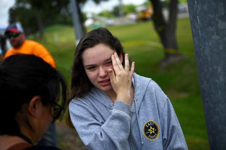 Image: Student Tori White speaks with reporters outside Santa Fe High School on May 19, 2018, in Santa Fe, Texas.