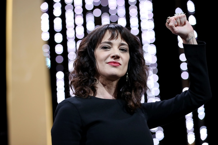 Image: Italian actress Asia Argento gestures on stage on May 19, 2018 during the closing ceremony of the 71st edition of the Cannes Film Festival in Cannes, southern France.