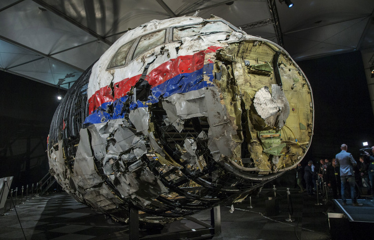 Image: Reconstructed wreckage of MH17