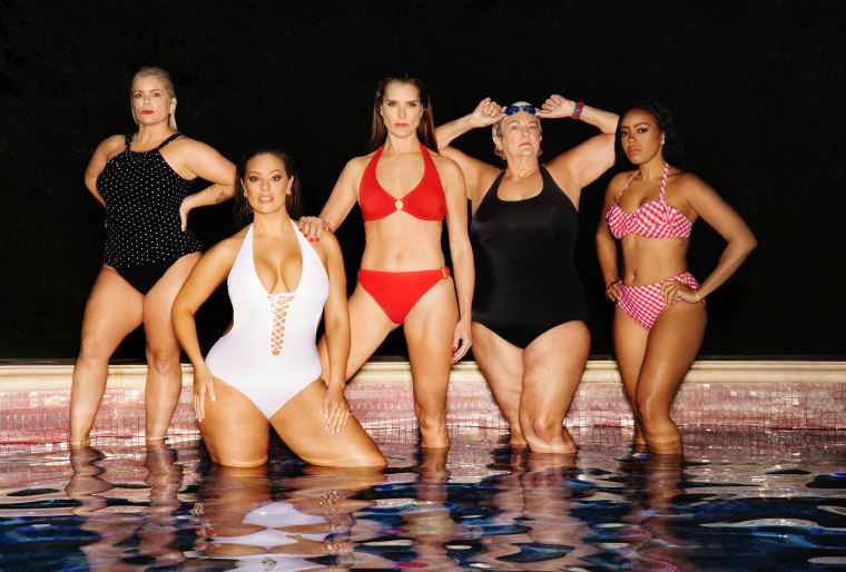 Shields appears in the campaign alongside a diverse array of women including (L-R) nurse practitioner Katie Duke, model Ashley Graham, pro swimmer Pat Gallant Charette and reality TV star Angela Simmons.