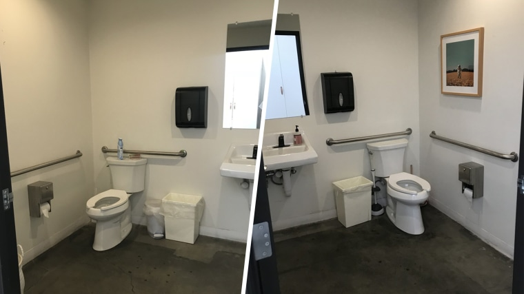 Before and after office bathroom