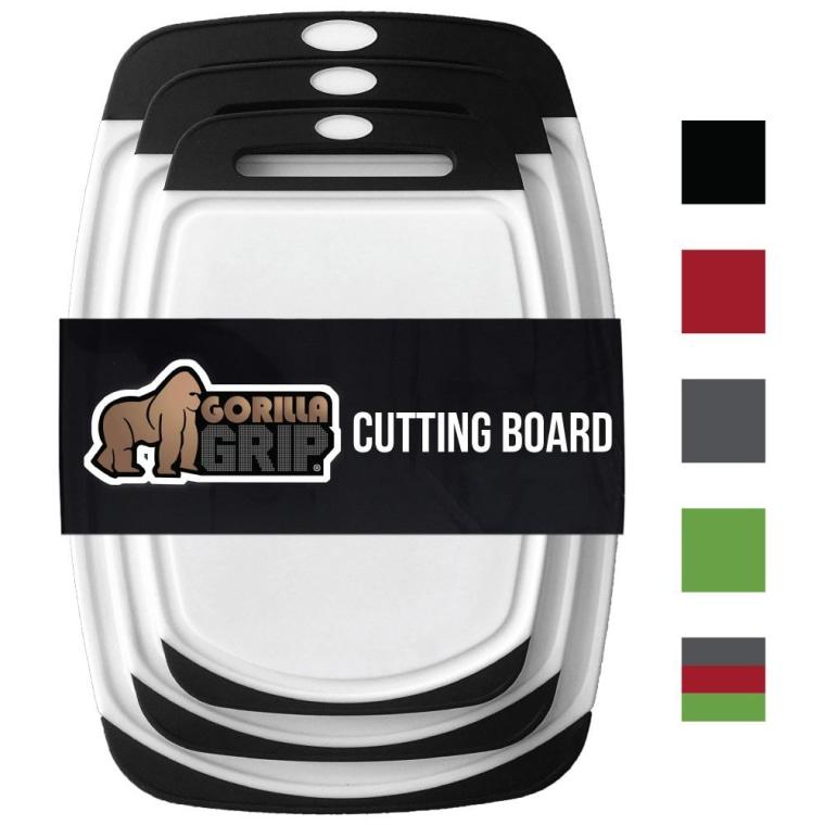 GORILLA GRIP Original Reversible Cutting Board (3-Piece Set) for Kitchen