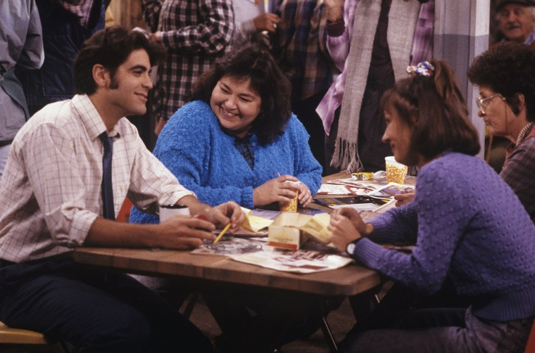 "George Clooney, Roseanne Barr, Laurie Metcalf on ""Roseanne"""