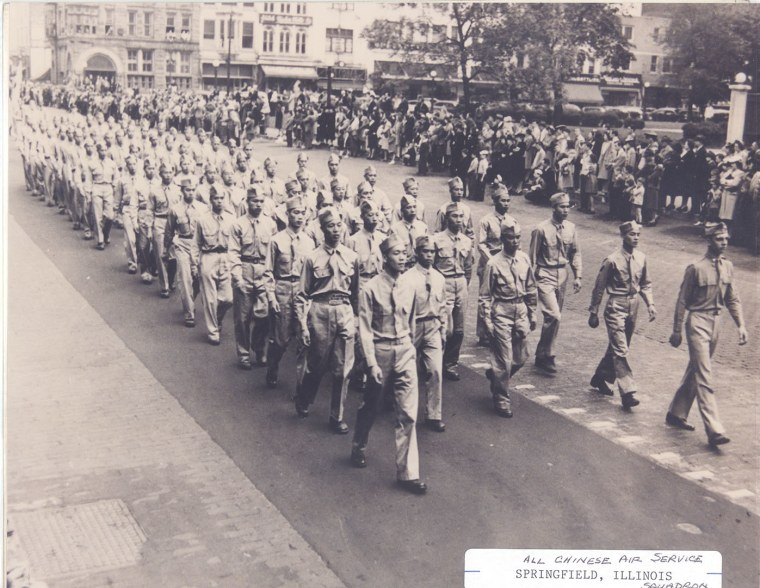 Chinese American units of the U.S. Army Air Forces train during World War II in this photo from the family of Paul Gooy Boo Lee.