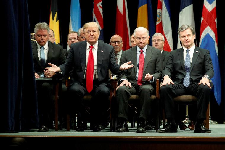 Trump participates in a graduation ceremony at the FBI Academy in Quantico, Virginia