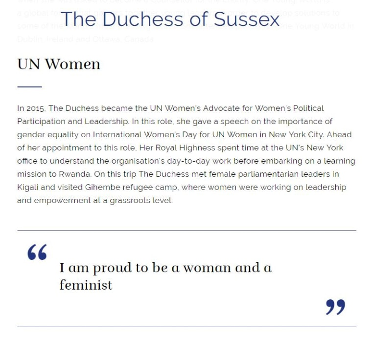 Image: An extract from the Meghan Markle's biography on the royal family website, under her new official title Duchess of Sussex.