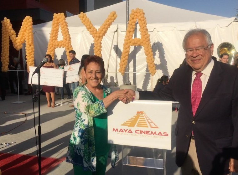 Moctesuma Esparza with the Grace Vallejo, Mayor of Delano, Calif., at the opening of Maya Cinemas in Delano, California on May 16.
