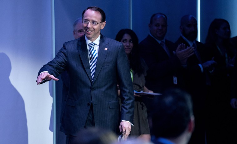 Image: Rod Rosenstein is welcomed before addressing attendees at the Bloomberg Law Leadership Forum