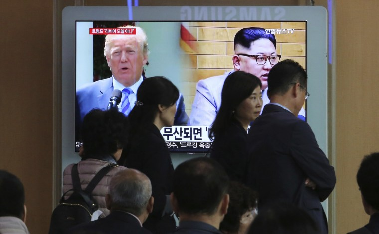 Image: President Donald Trump and North Korean leader Kim Jong Un appear on television
