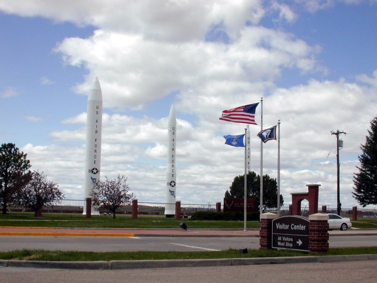 Three types of missiles flank the main gate of F.E. Warren Air Force Base in Wyoming.