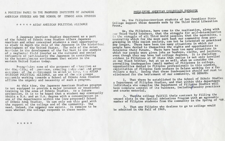 Left, a position paper on the proposed Institute of Japanese American Studies and the School of Ethnic Area Studies from the Asian American Political Alliance, and right, a document from the late '60s by Filipino-American students supporting the demands made by the Third World Liberation Front as well as presenting their own demands to fight racism on campus.