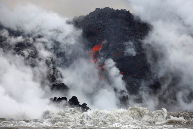 Image: Lava flows into the Pacific Ocean southeast of Pahoa
