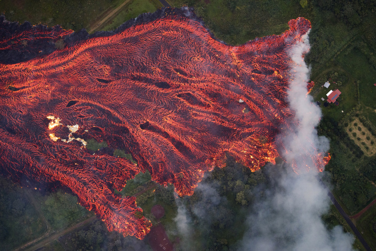 Image: Fast-moving lava flow consumes everything in its path