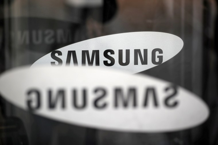 Image: FILE PHOTO: The logo of Samsung Electronics is seen at its office building in Seoul