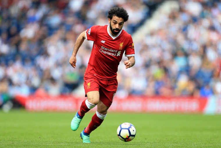 Mo Salah plays for Liverpool in a match agains West Bromwich Albion.