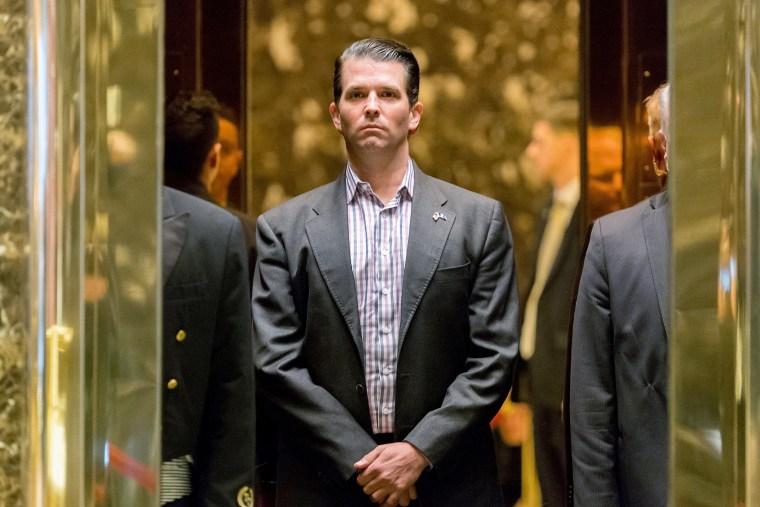 Image: Donald Trump Jr. stands in an elevator at Trump Tower in New York, Jan. 18, 2017.
