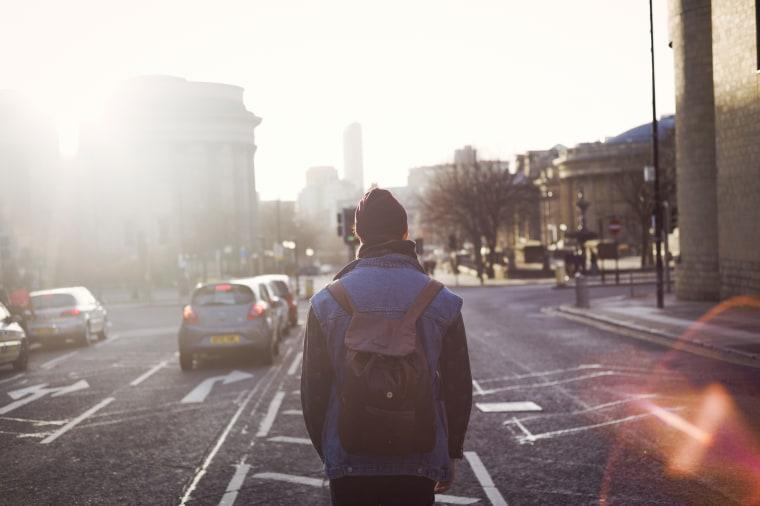 Image: Man wearing backpack