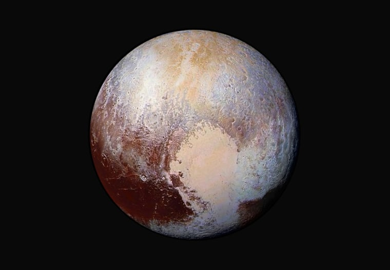 Image: Pluto photo from four images from New Horizons' Long Range Reconnaissance Imager (LORRI) combined with color data from the Ralph instrument