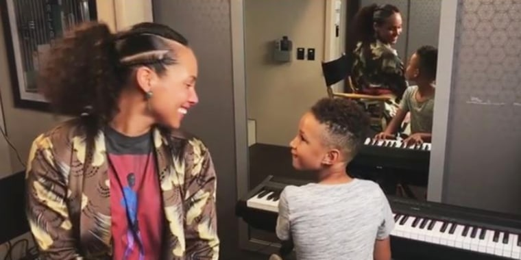 Alicia Keys and her son, Egypt, make a great musical duo.