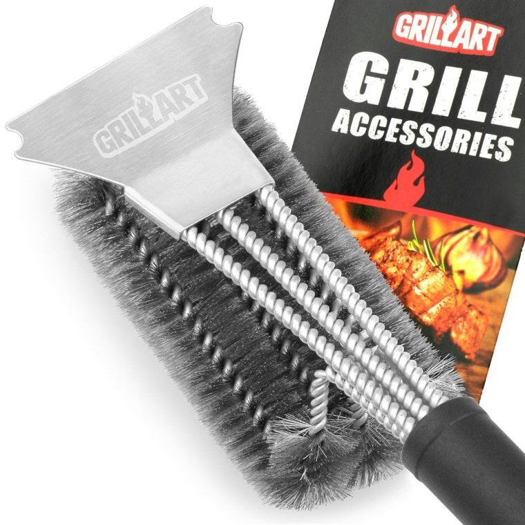 "Grill Brush and Scraper - GRILLART Best BBQ Brush for Grill, Safe 18"" Stainless Steel Woven Wire 3 in 1 Bristles Grill Cleaning Brush for Weber Gas/Charcoal."