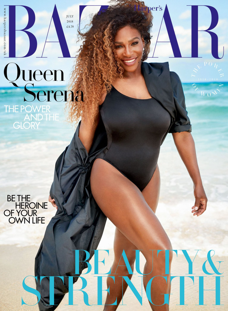 Serena Williams on on the cover of July issue of Harper's Bazaar UK