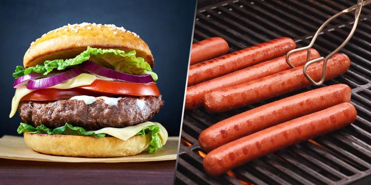 Hamburger and hot dogs
